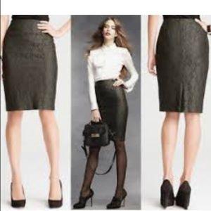 Hunter green, lace, Ann Taylor pencil skirt.